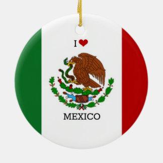 amo México - bandera mexicana Adorno Redondo De Cerámica