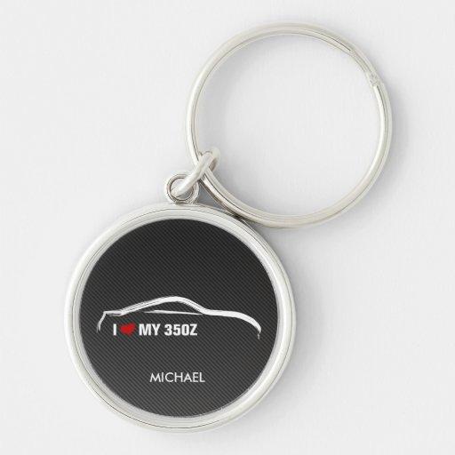 Amo mi 350Z con la falsa fibra de carbono Llavero Personalizado