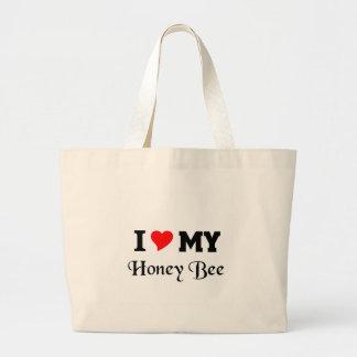 Amo mi abeja de la miel bolsa tela grande