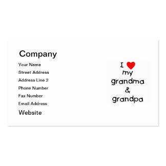 Amo mi abuela y abuelo tarjetas de visita