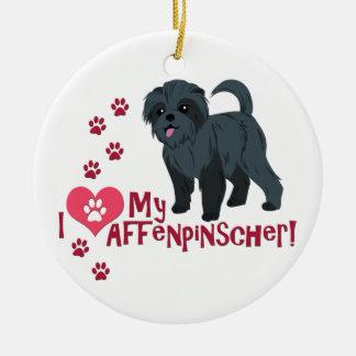 ¡Amo mi Affenpinscher! Adorno Redondo De Cerámica