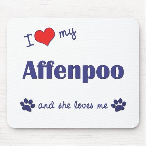 Amo mi Affenpoo (el perro femenino) Tapetes De Raton
