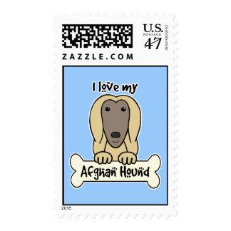 Amo mi afgano timbre postal