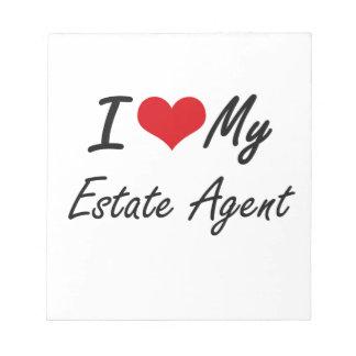 Amo mi agente de la propiedad inmobiliaria bloc de papel