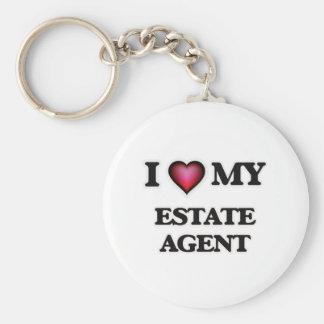 Amo mi agente de la propiedad inmobiliaria llavero redondo tipo pin