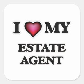 Amo mi agente de la propiedad inmobiliaria pegatina cuadrada