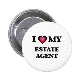 Amo mi agente de la propiedad inmobiliaria pin redondo de 2 pulgadas