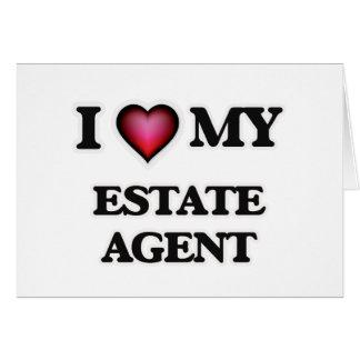 Amo mi agente de la propiedad inmobiliaria tarjeta de felicitación