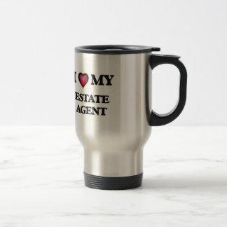 Amo mi agente de la propiedad inmobiliaria taza térmica