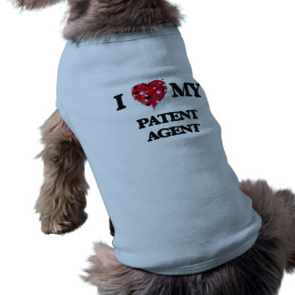 Amo mi agente de patente playera sin mangas para perro