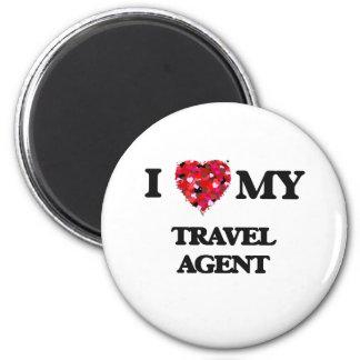 Amo mi agente de viajes imán redondo 5 cm