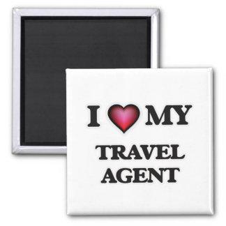 Amo mi agente de viajes imán cuadrado