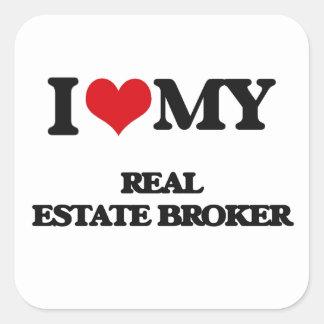 Amo mi agente inmobiliario pegatina cuadrada