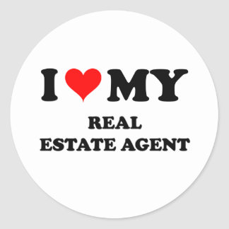 Amo mi agente inmobiliario etiquetas redondas