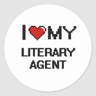 Amo mi agente literario pegatina redonda