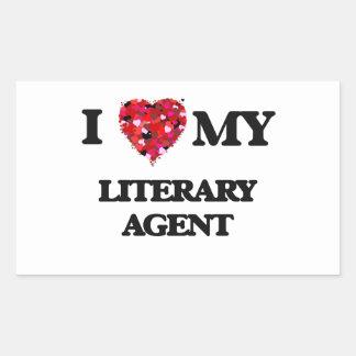 Amo mi agente literario pegatina rectangular