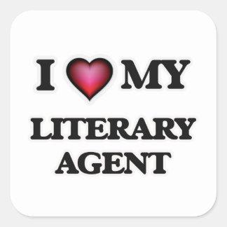 Amo mi agente literario pegatina cuadrada