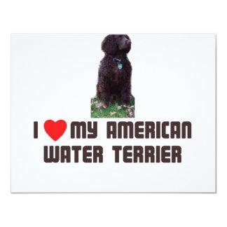 Amo mi agua americana Terrier Invitación 10,8 X 13,9 Cm