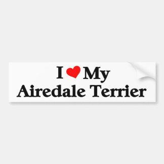 Amo mi Airedale Terrier Pegatina Para Auto