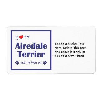 Amo mi Airedale Terrier (el perro femenino) Etiqueta De Envío