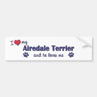 Amo mi Airedale Terrier (el perro masculino) Pegatina Para Auto