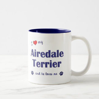 Amo mi Airedale Terrier (el perro masculino) Taza De Café De Dos Colores