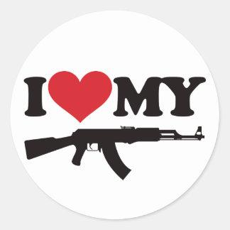 Amo mi AK47 Pegatina Redonda