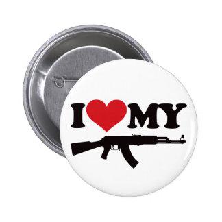 Amo mi AK47 Pin Redondo De 2 Pulgadas