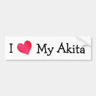 Amo mi Akita Etiqueta De Parachoque