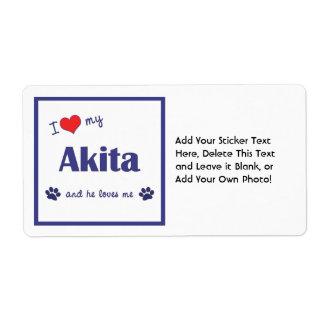 Amo mi Akita (el perro masculino) Etiqueta De Envío