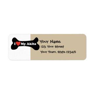 Amo mi Akita - hueso de perro Etiqueta De Remite