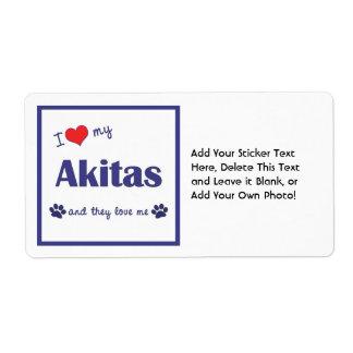 Amo mi Akitas (los perros múltiples) Etiquetas De Envío