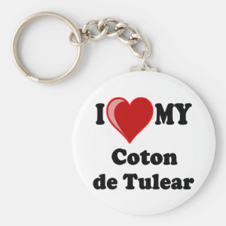 Amo mi algodón De Tulear Dog Llavero Redondo Tipo Pin
