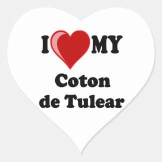 Amo mi algodón De Tulear Dog Pegatina En Forma De Corazón