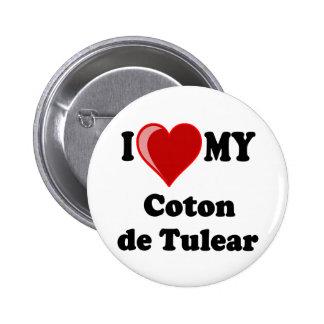 Amo mi algodón De Tulear Dog Pin Redondo De 2 Pulgadas