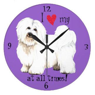 Amo mi algodón de Tulear Reloj Redondo Grande