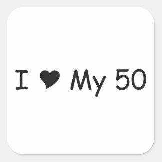 Amo mi amor 50I mis regalos por Gear4gearheads Pegatina Cuadrada