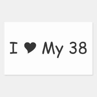 Amo mi amor de 38 I mis regalos por Gear4gearheads Pegatina Rectangular