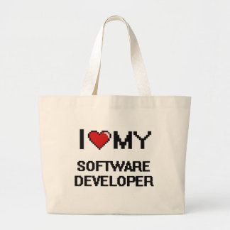 Amo mi analista de programas informáticos bolsa tela grande