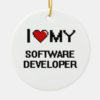 Amo mi analista de programas informáticos adorno redondo de cerámica