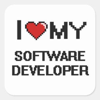 Amo mi analista de programas informáticos pegatina cuadrada