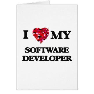 Amo mi analista de programas informáticos tarjeta de felicitación