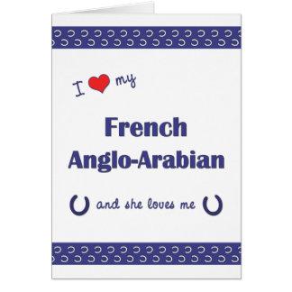 Amo mi Anglo-Árabe francés (el caballo femenino) Tarjeta Pequeña