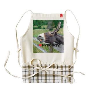 Amo mi animal del campo divertido de la mula del delantal zazzle HEART