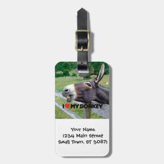 Amo mi animal del campo divertido de la mula del etiqueta de maleta