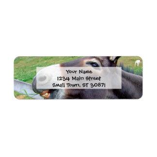 Amo mi animal del campo divertido de la mula del etiqueta de remitente