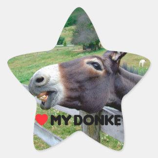 Amo mi animal del campo divertido de la mula del pegatina en forma de estrella