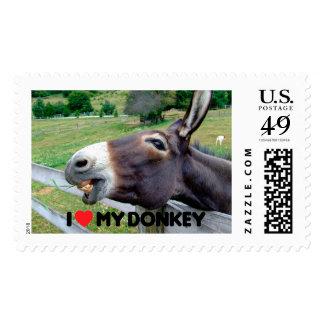 Amo mi animal del campo divertido de la mula del timbres postales
