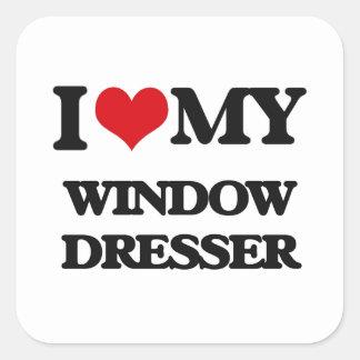 Amo mi aparador de ventana pegatina cuadrada
