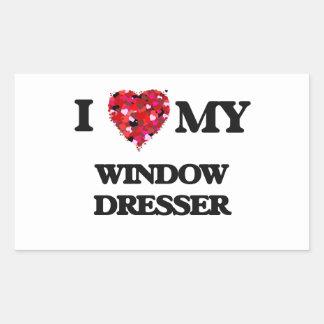 Amo mi aparador de ventana pegatina rectangular